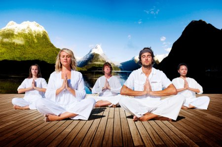 people and Yoga Meditation Concept