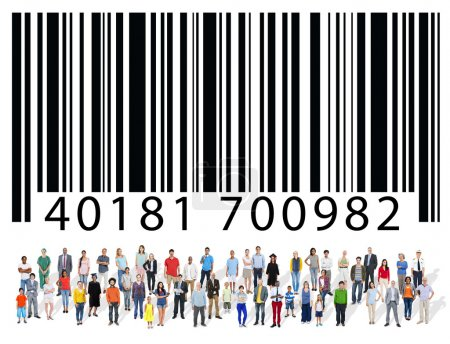 Group of multi ethnic people with barcode