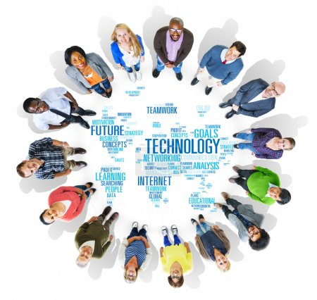 People and Global Technology Networking Concept
