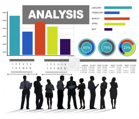 People below analyzing information bar graph