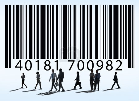 People standing under barcode
