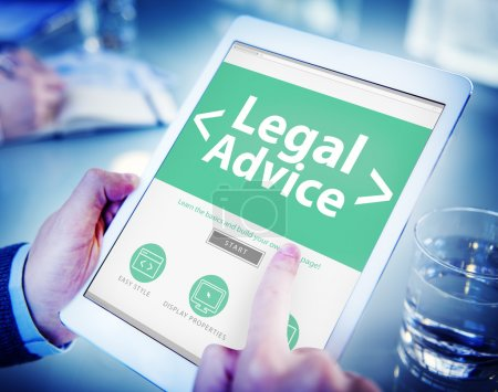 hands holding tablet with Legal Advice