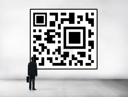 Business man with QR code