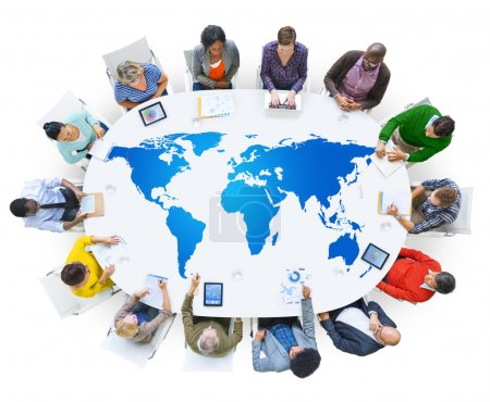 Multi ethnic business people with world map