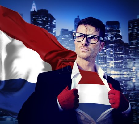 Businessman Superhero with Nertherlands Flag Concept