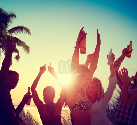 People Celebration at Beach Party