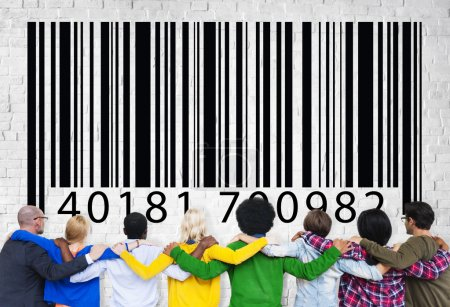 Group of people with barcode