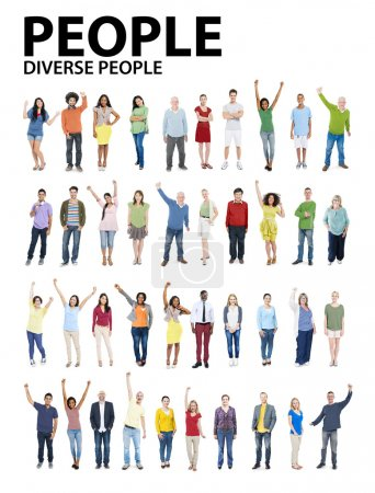 Group of People Diversity Standing with Arms Raised