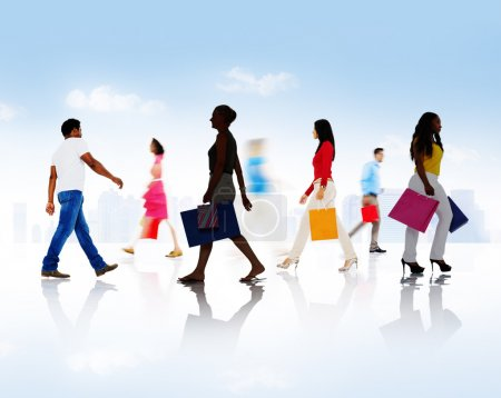 people with bags during Shopping