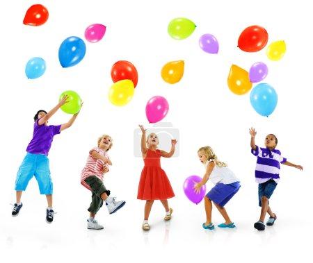 Multiethnic Children and Balloons, Friendship Concept