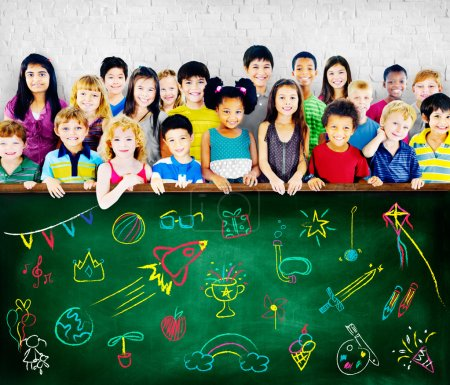 Group of Multiethnic children with friendship signs