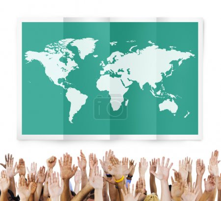 Diverse hands and World Global Business