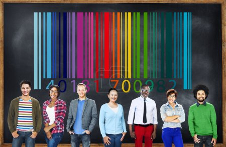 Diverse people and Bar code