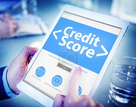 hands holding tablet with Credit Score