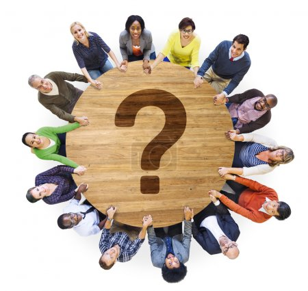 Diverse people and Question Mark