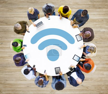 Diverse people and Wifi Concept