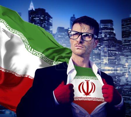 Businessman Superhero with Iran Flag