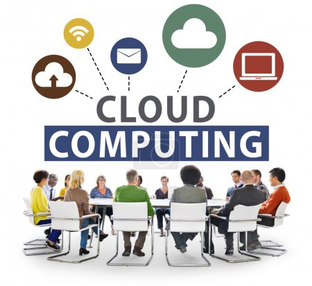 People around table with Cloud Computing