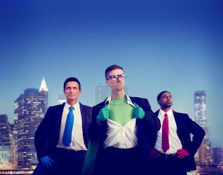 Superhero Businessmen and Cityscape