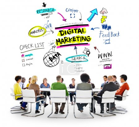 Diverse people and Digital Marketing
