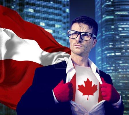 Superhero Businessman with Canadian Flag