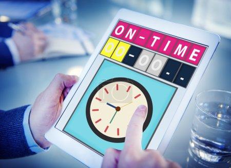 Man using digital tablet  On Time Concept