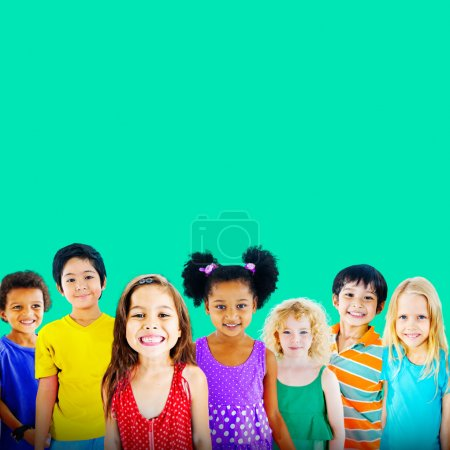 Cute diverse kids smiling
