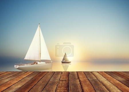 Sailboat Summer Travel Concept