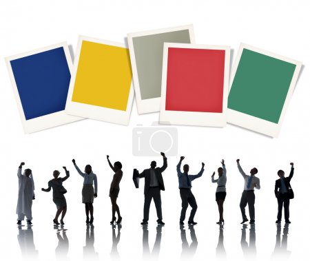 Business People with Polaroid Papers Concept