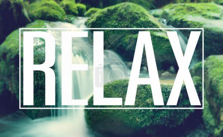word Relax on water background