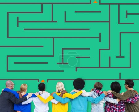 business people and Maze Strategy Success Solution