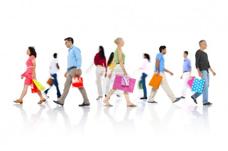 Diversity group of people walking