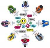 Týmová práce připojení strategie koncepce