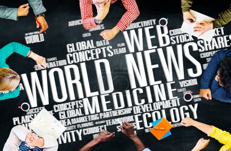 Diverse people and World News Concept