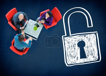 Business people and Sucurity Lock Guard Concept...