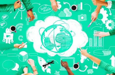 Global Communication Social Network Concept