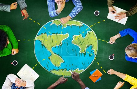 Photo pour Monde Global Ecology, rencontre internationale, Unity Concept d'apprentissage - image libre de droit
