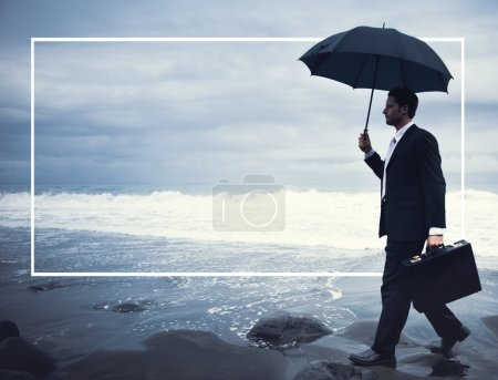 Businessman Walking Beach Concept