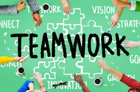 Photo for Teamwork Team Collaboration. Connection Togetherness Unity Concept - Royalty Free Image
