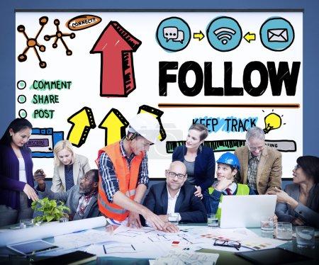 folgen sie vernetzung von sozialen konzept