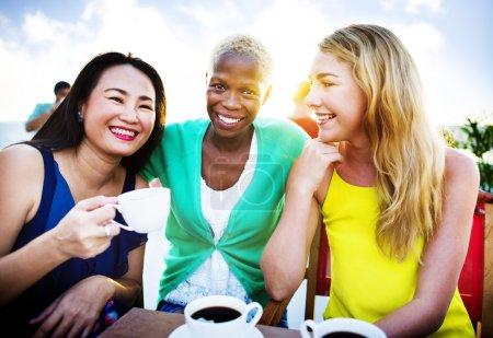 Girls Coffee Break Talking Concept