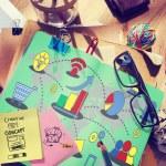 Постер, плакат: Messy office desk with Marketing Concept