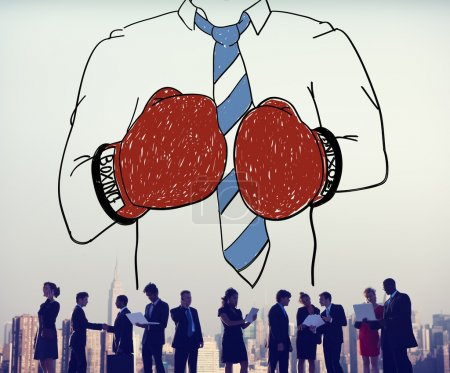 Businessman Boxing Conpetition Concept