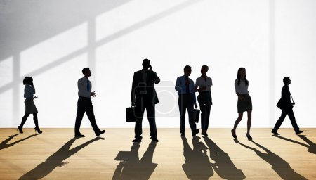 Business workers silhouettes