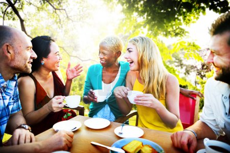 Group of friends chilling at outdoors