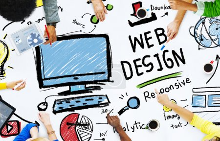 Group of People and Layout Web design