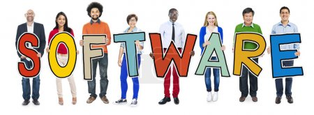 DIverse People Holding Text Software