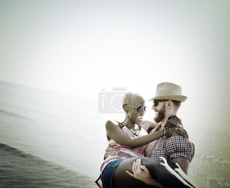 Sweet couple in love on the beach