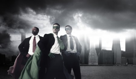 businessmen in Superhero costumes