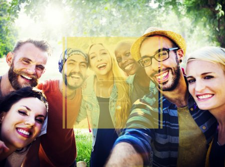 Photo for Diverse cheerful friends standing together at outdoors - Royalty Free Image